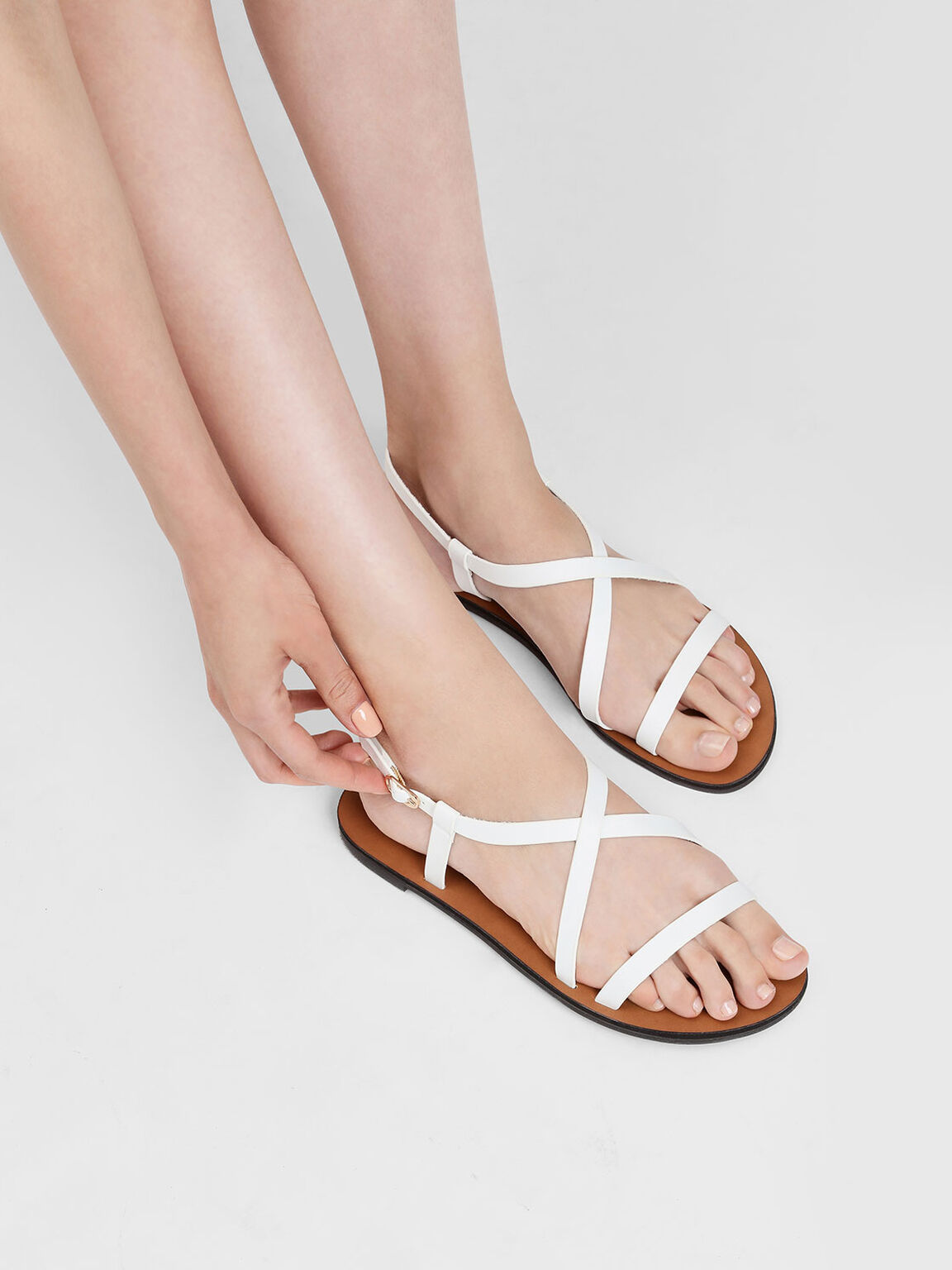 Criss Cross Sandals, White, hi-res
