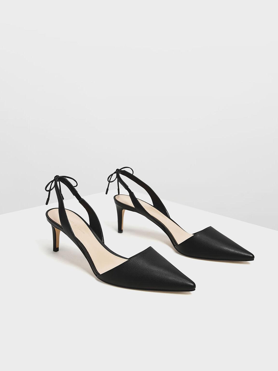 尖頭綁帶跟鞋, 黑色, hi-res