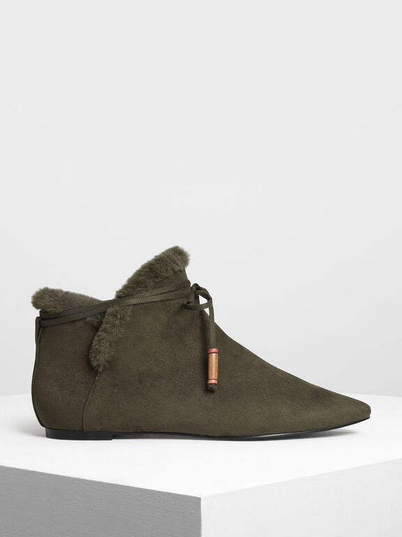 Furry Lining Ankle Booties, Olive, hi-res