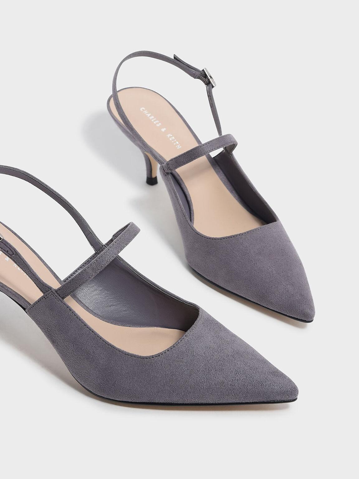 Slingback Kitten Heels, Grey, hi-res