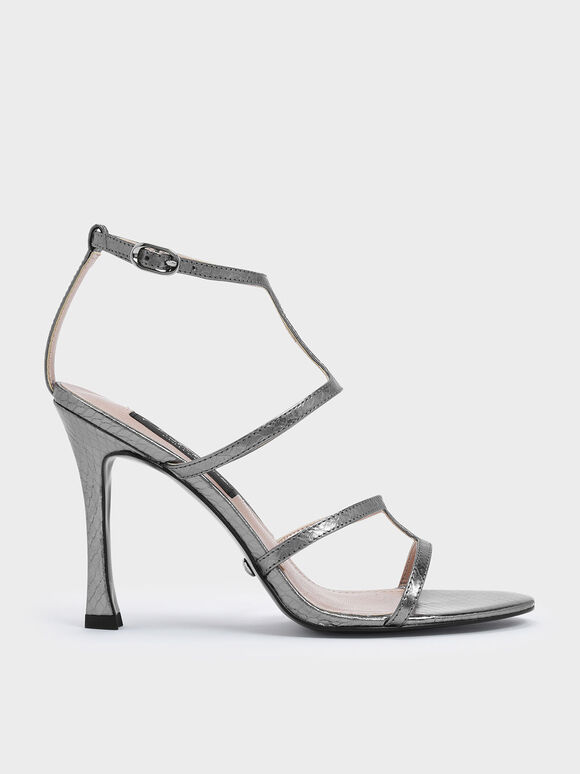 Snake Print Leather Strappy Stiletto Heel Sandals, Pewter, hi-res
