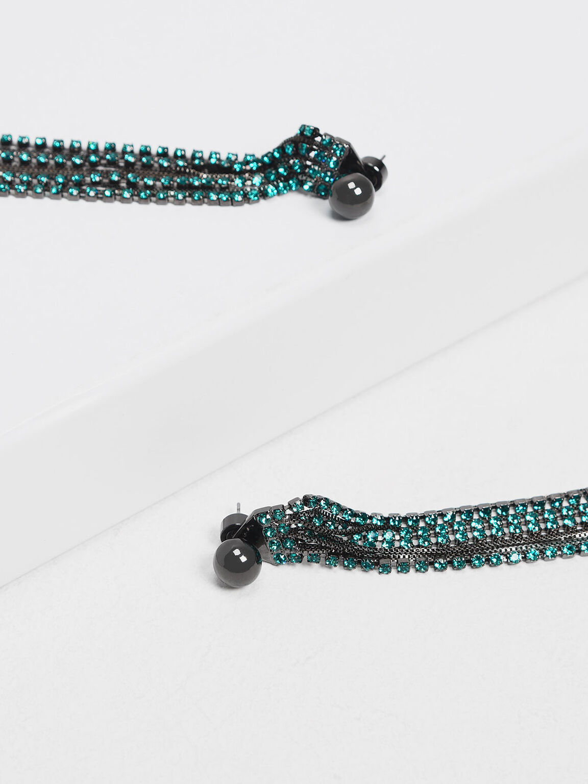 Crystal Drop Earrings, Teal, hi-res