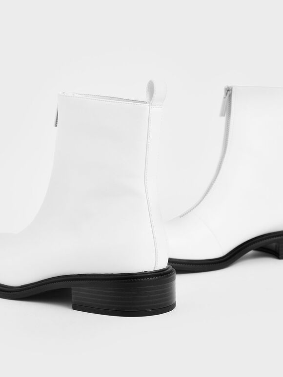 Front Zip Ankle Boots, White, hi-res