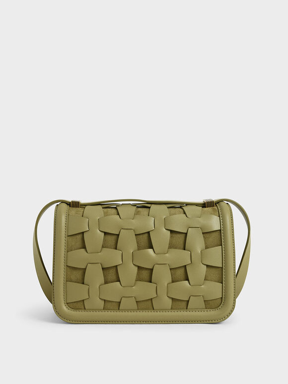 Weave Detail Shoulder Bag, Sage Green, hi-res