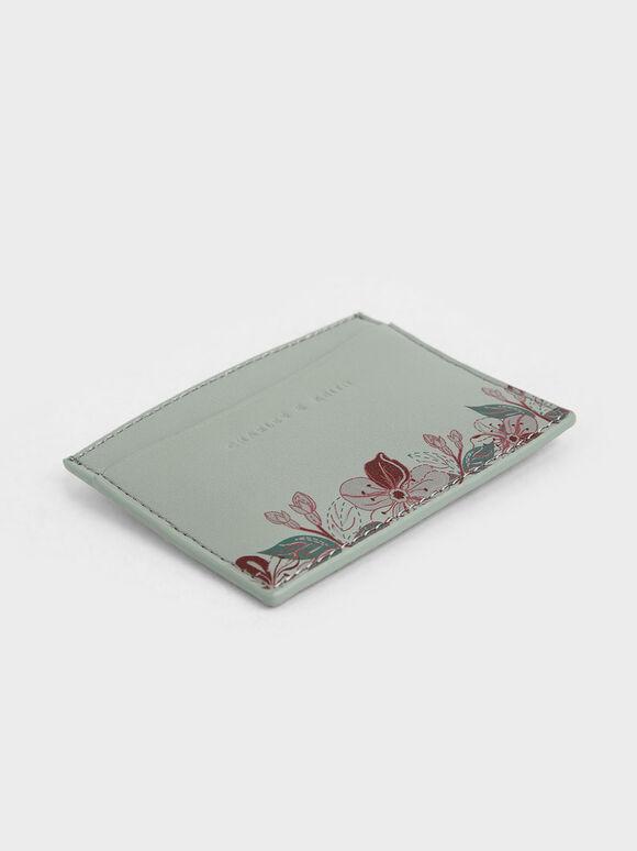 Floral Print Card Holder, Green, hi-res