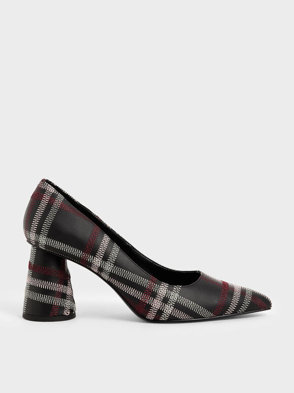 Tartan Cylindrical Heel Pumps, Black Textured, hi-res