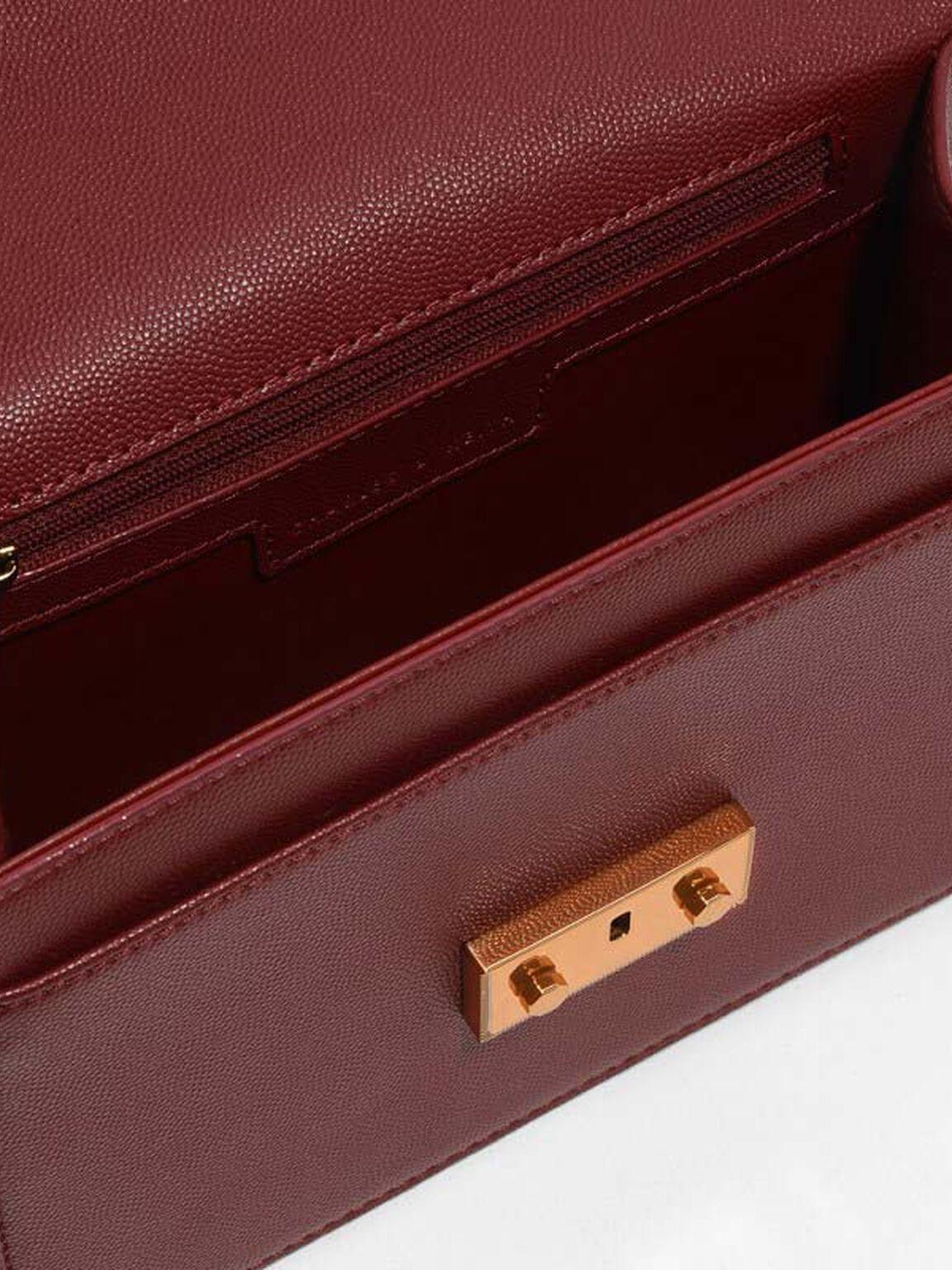 Metallic Accent Chain Strap Shoulder Bag, Red, hi-res