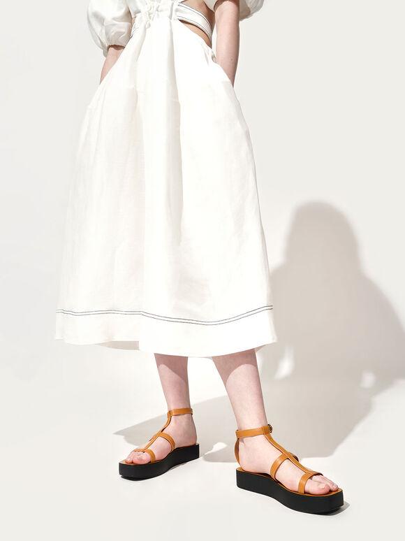 T-Bar Flatform Sandals, Mustard, hi-res
