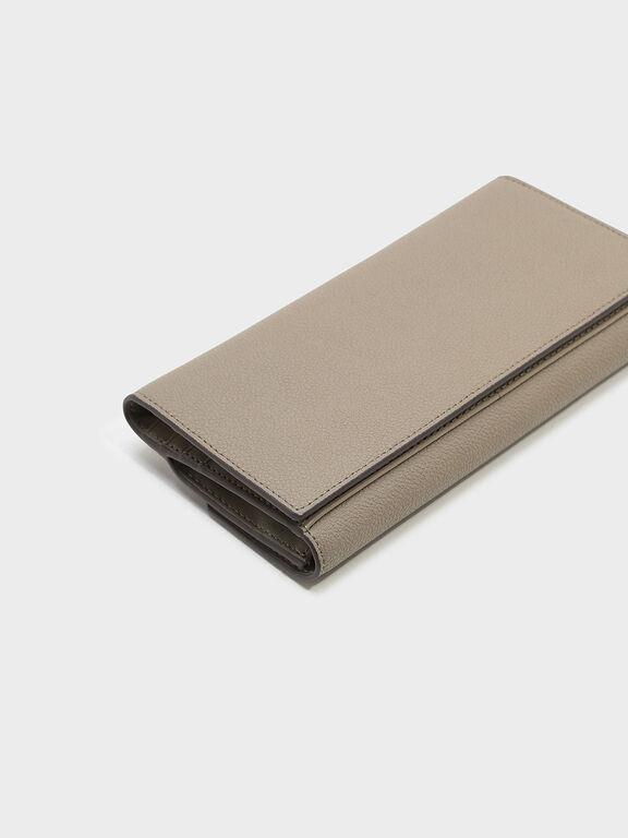 Push-lock Wallet, Taupe