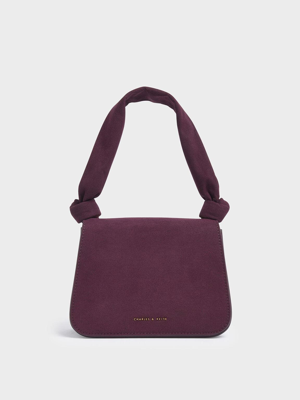 Textured Knot Handle Crossbody Bag, Purple, hi-res