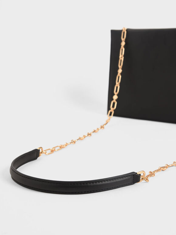 Leather Chain Strap Crossbody Bag, Black, hi-res