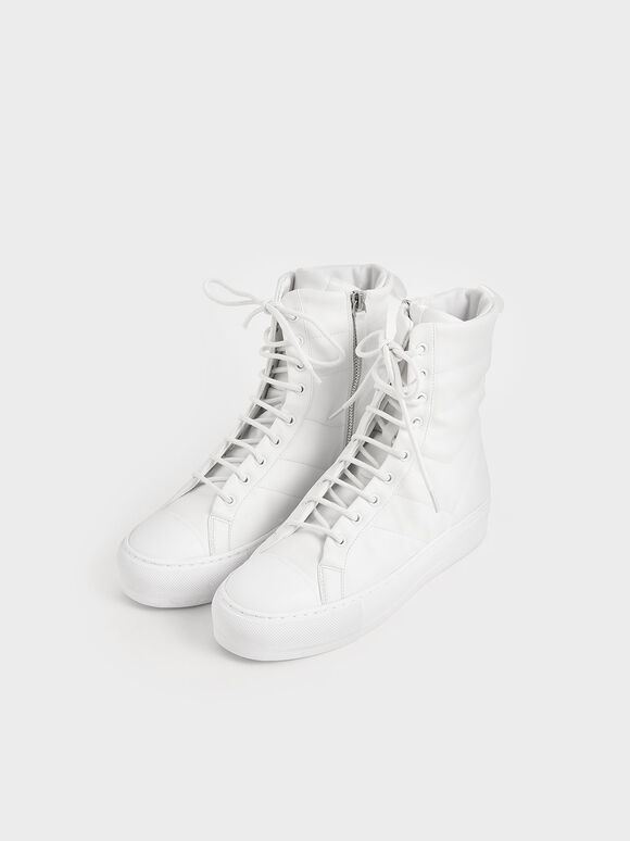 Quilted High Top Sneakers, White, hi-res