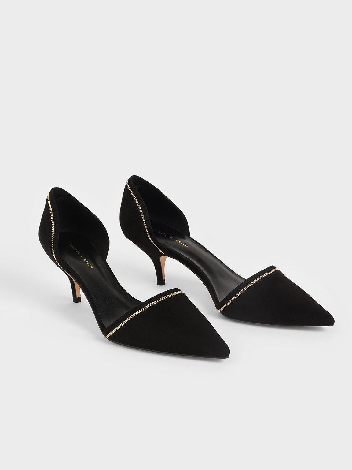 Embellished D'Orsay Pumps, Black, hi-res