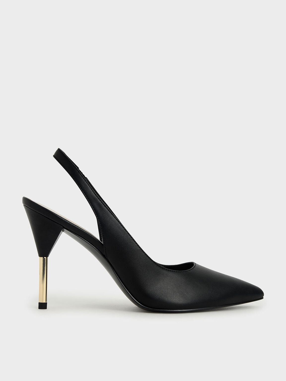 Slingback Stiletto Pumps, Black, hi-res
