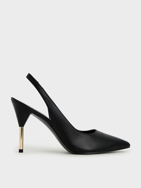 Slingback Stiletto Pumps, Black, hi-res