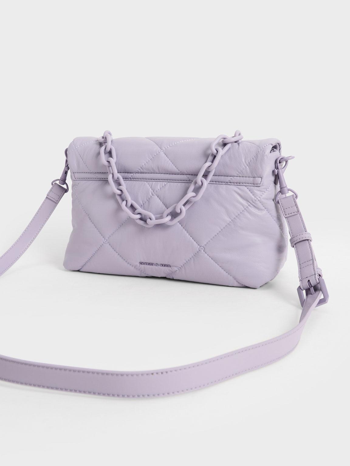 蓬軟菱格肩背包, 紫丁香色, hi-res
