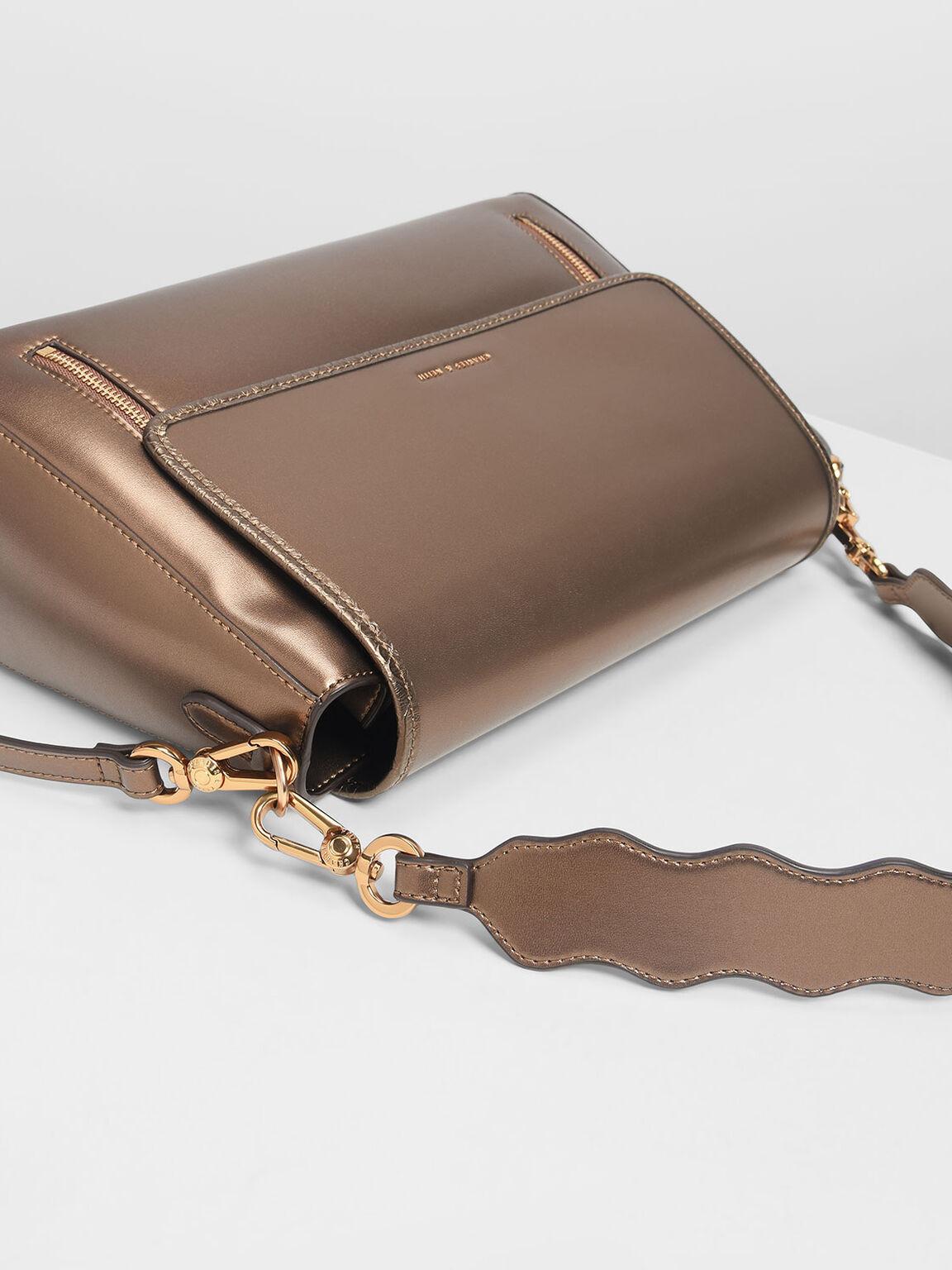 Zip Detail Front Flap Bag, Bronze, hi-res