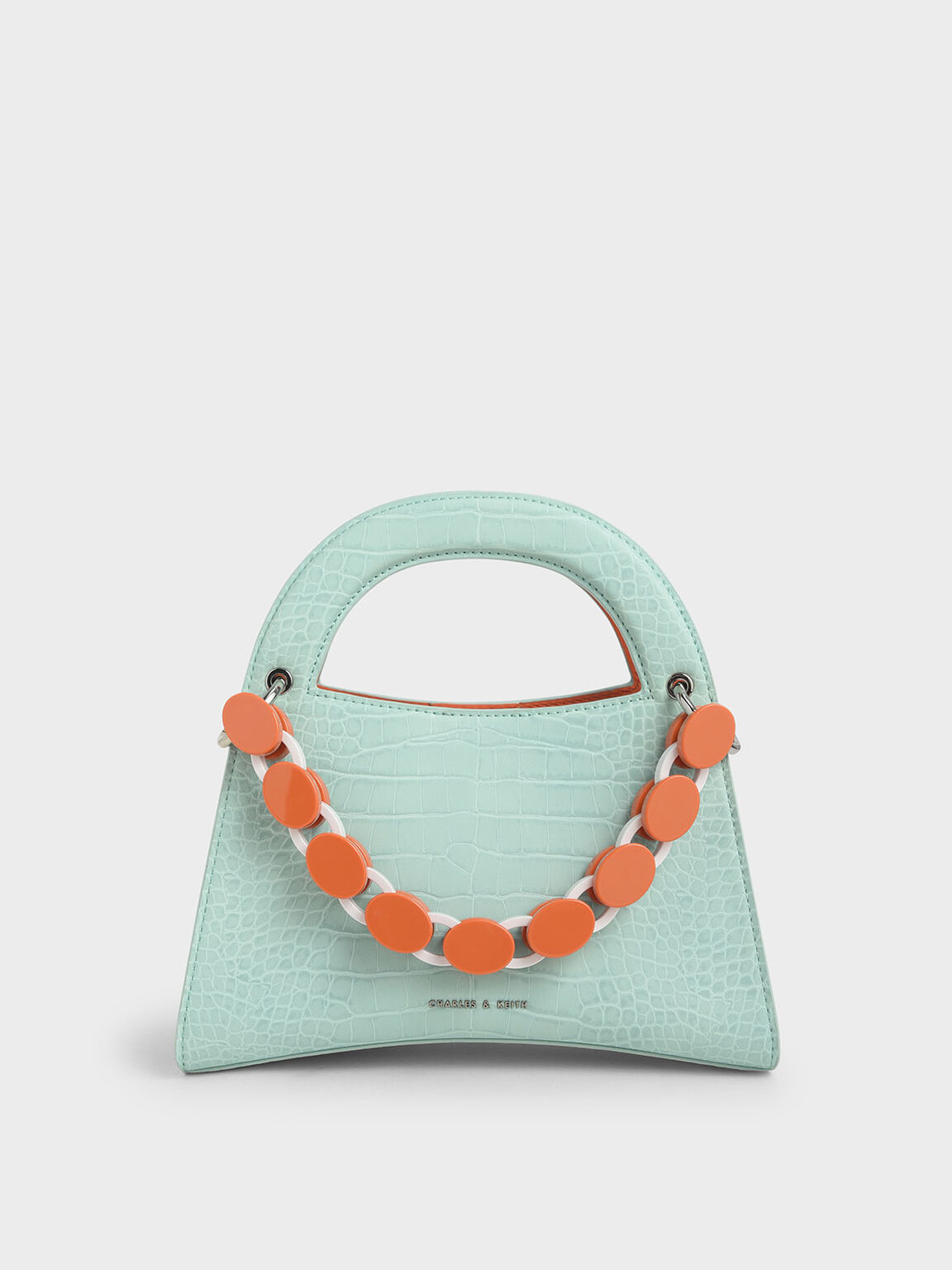 Croc-Effect Acrylic Top Handle Sculptural Bag, Mint Blue, hi-res