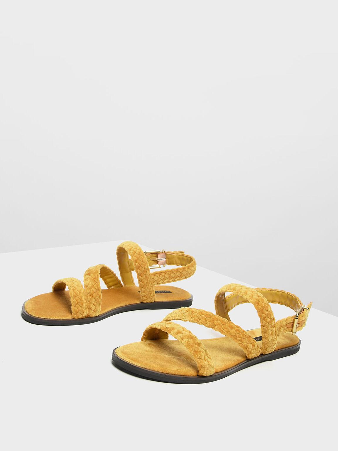 Braided Asymmetrical Sandals, Mustard, hi-res