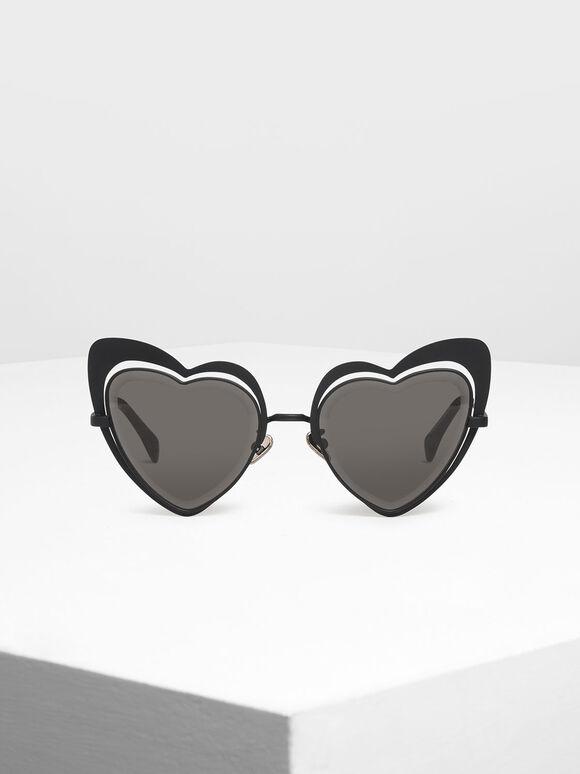 Heart-Shaped Sunglasses, Black, hi-res