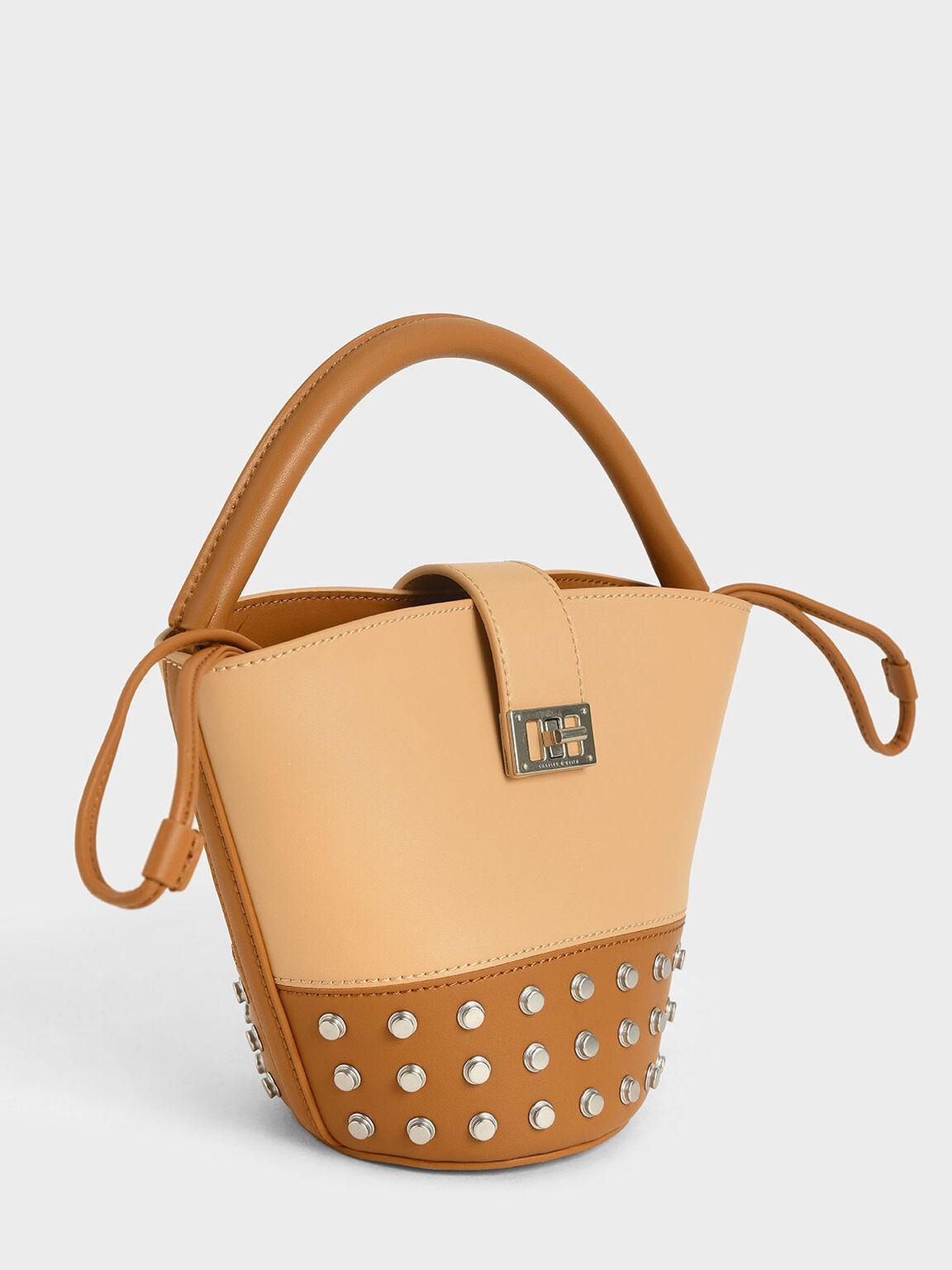 Studded Bucket Bag, Nude, hi-res