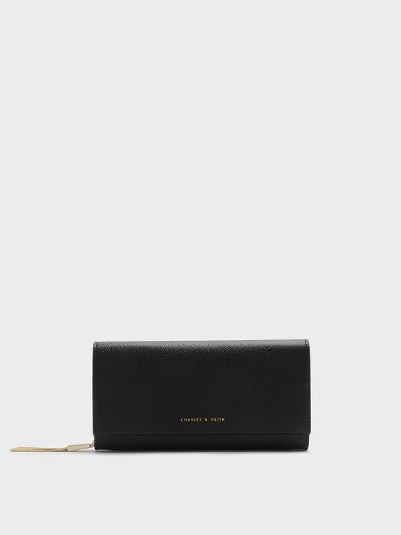 Tassel Long Wallet, Black, hi-res