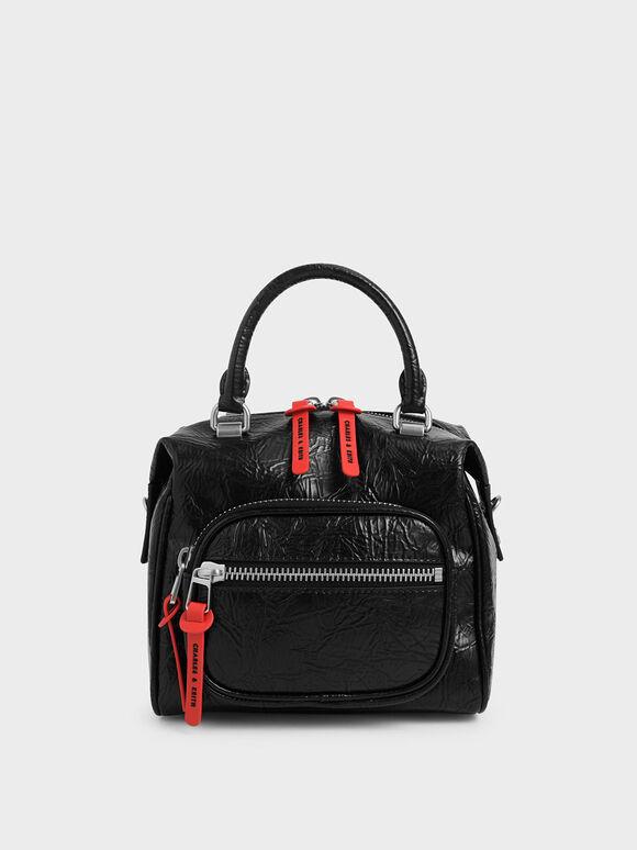 Wrinkled Effect Front Zip Bag, Black, hi-res