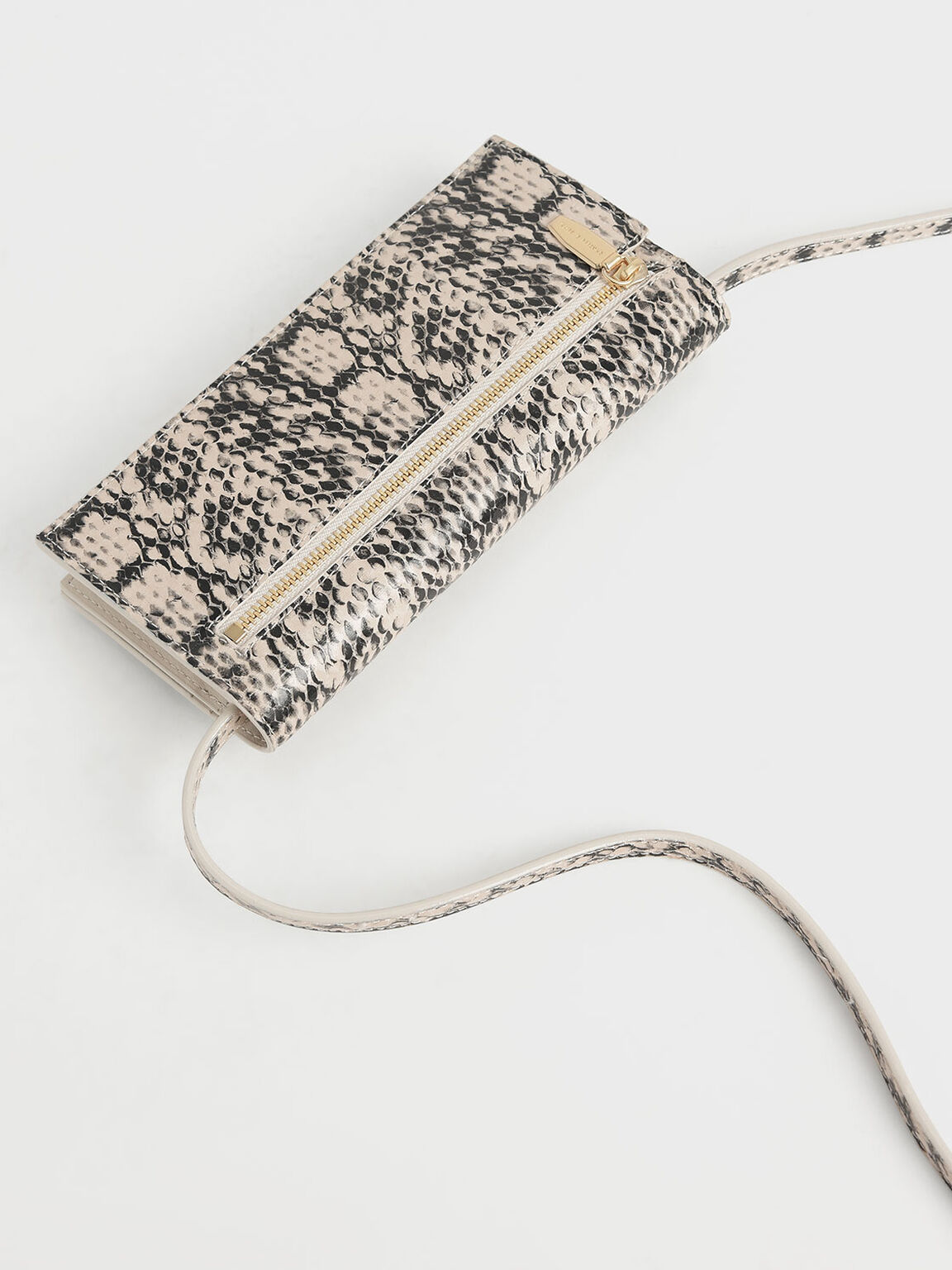 Mini Snake Print Front Zip Long Wallet, Cream, hi-res