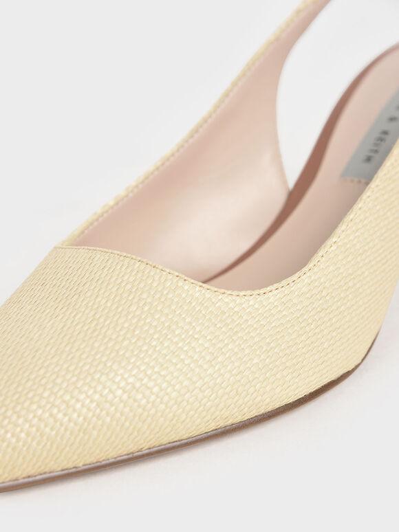 Raffia Metallic Accent Slingback Court Shoes, Sand, hi-res