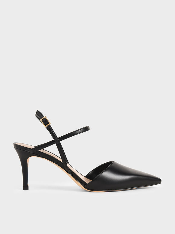 Ankle Strap Stiletto Court Shoes, Black, hi-res