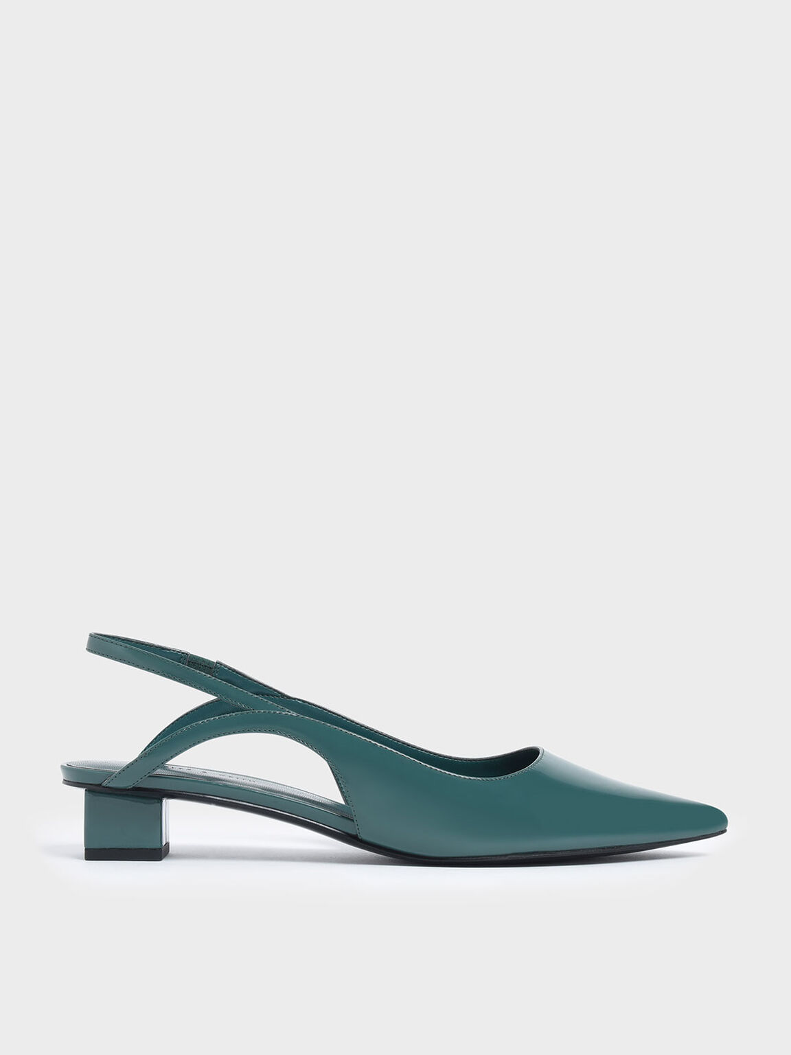 Low Block Heel Patent Slingback Pumps, Green, hi-res