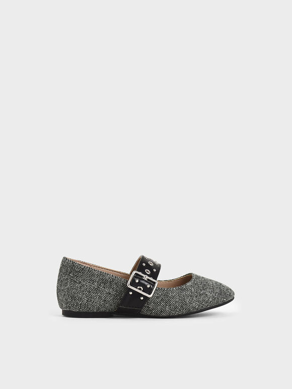 Girls' Woven Fabric Studded Mary Jane Flats, Dark Grey, hi-res
