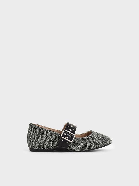 兒童鉚釘瑪莉珍鞋, 深灰色, hi-res