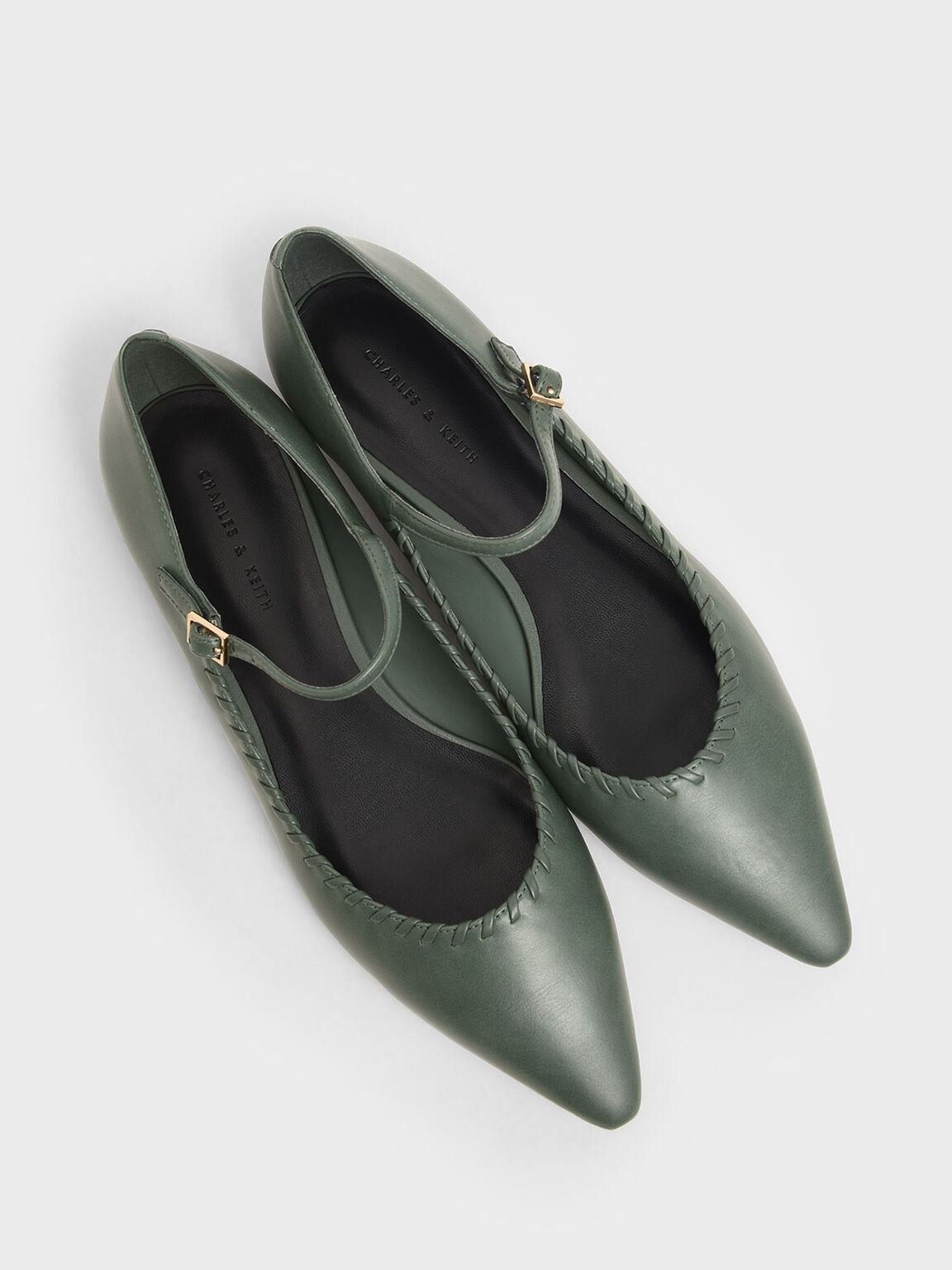 Whipstitch Trim Mary Jane Flats, Green, hi-res
