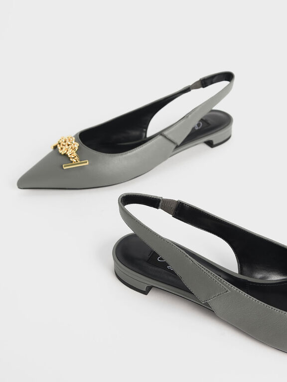 Knotted Chain Detail Leather Slingback Flats, Sage Green