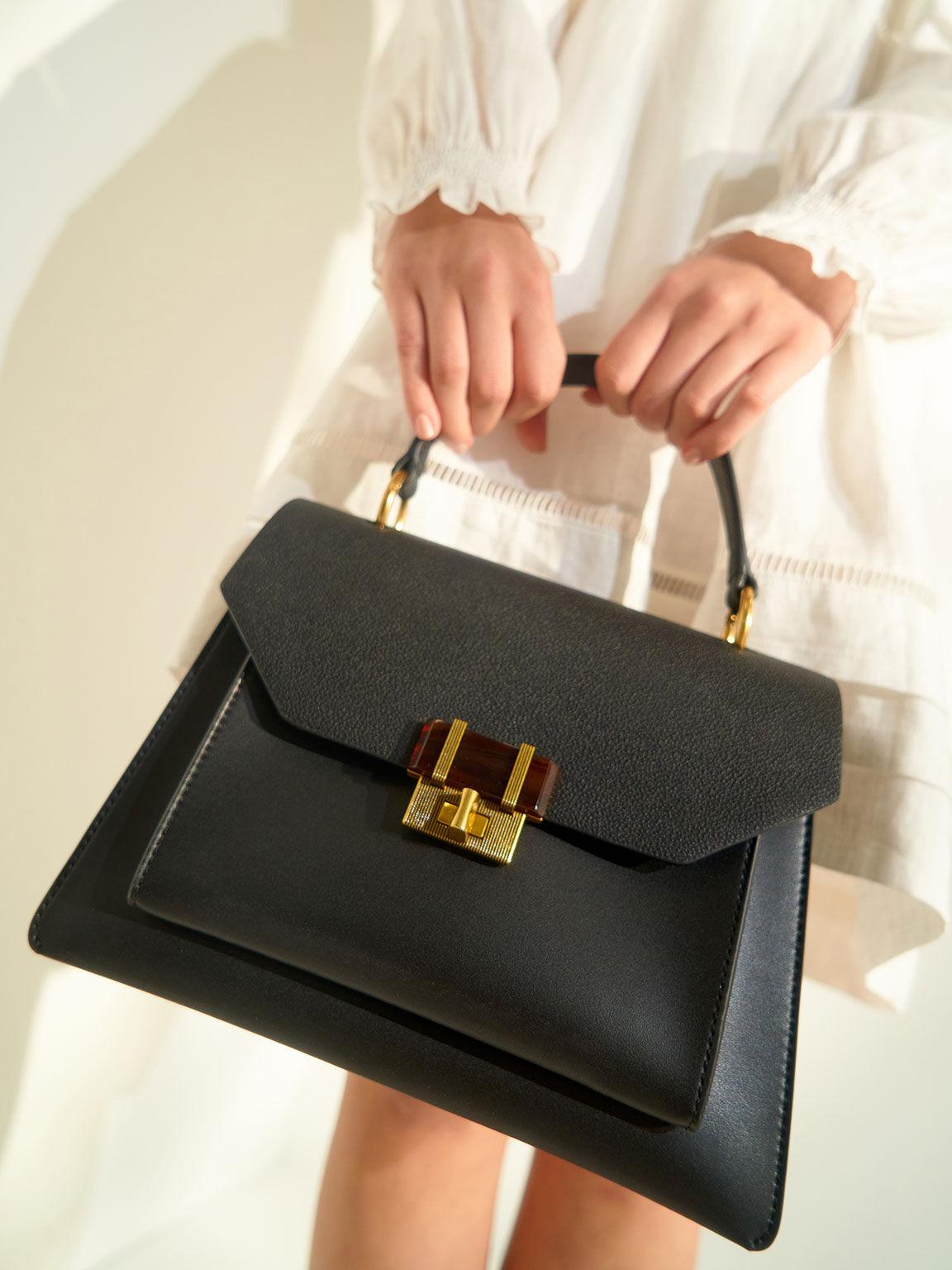 Stone-Embellished Geometric Bag, Black, hi-res