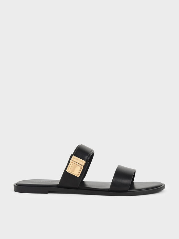 Buckle Double Strap Slide Sandals, Black, hi-res
