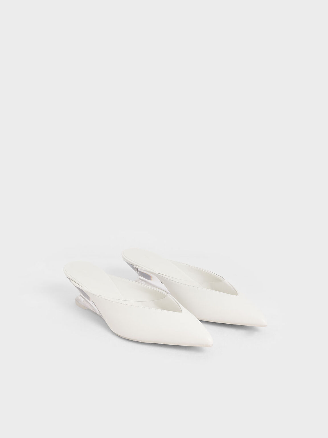See-Through Effect Pointed Toe Mules, White, hi-res