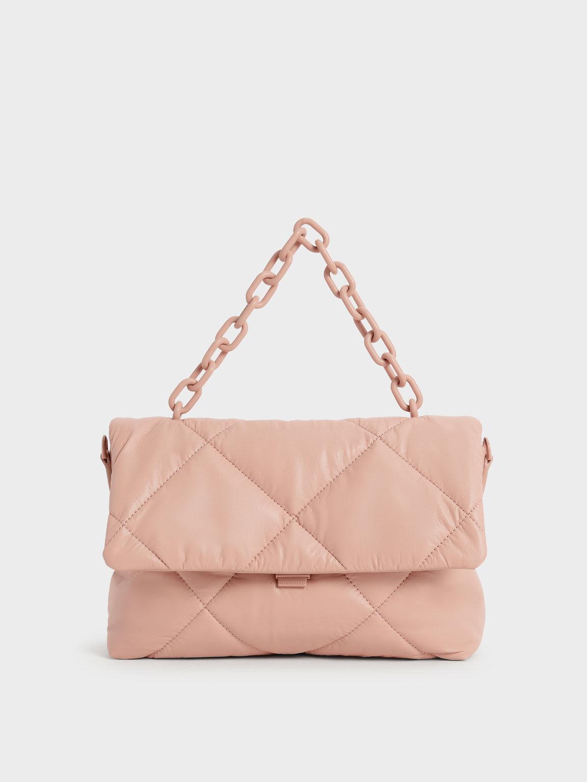 Chain Handle Puffer Bag, Blush, hi-res