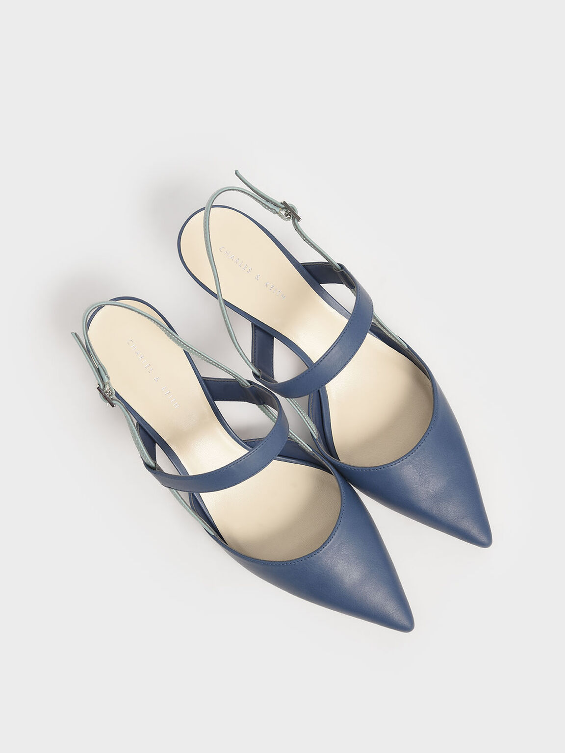 Slingback Kitten Heel Pumps, Blue, hi-res