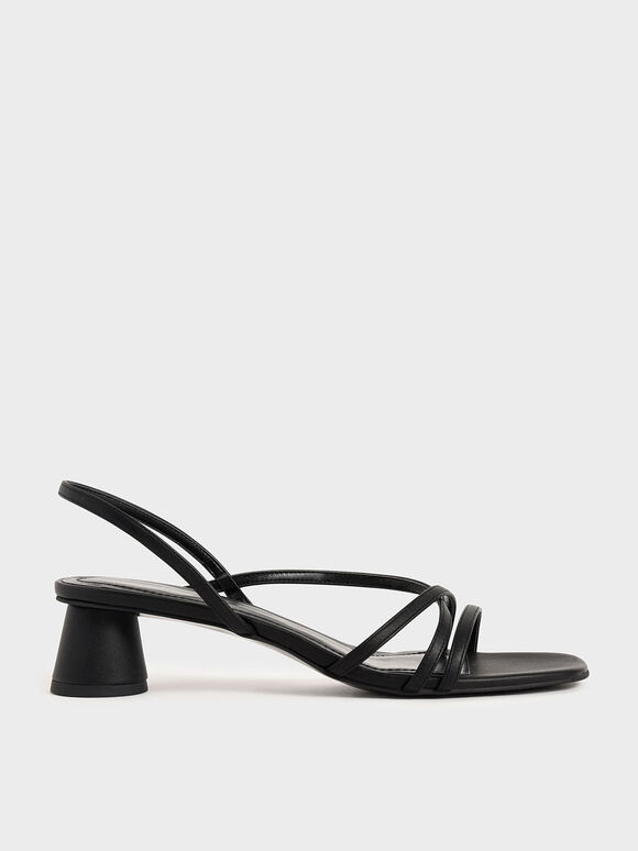 Strappy Cylindrical Heel Sandals, Black, hi-res
