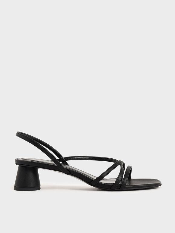 線條圓柱跟涼鞋, 黑色, hi-res