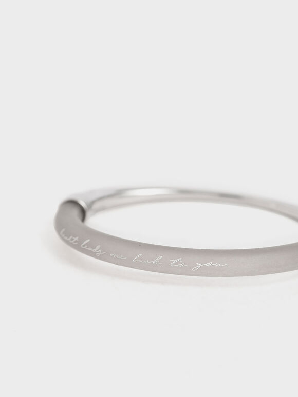 """""""My Heart Leads Me Back To You"""" Printed Bracelet, Silver, hi-res"""