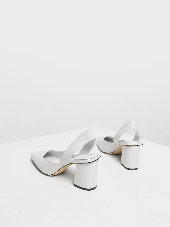 Square Toe Block Heels, White