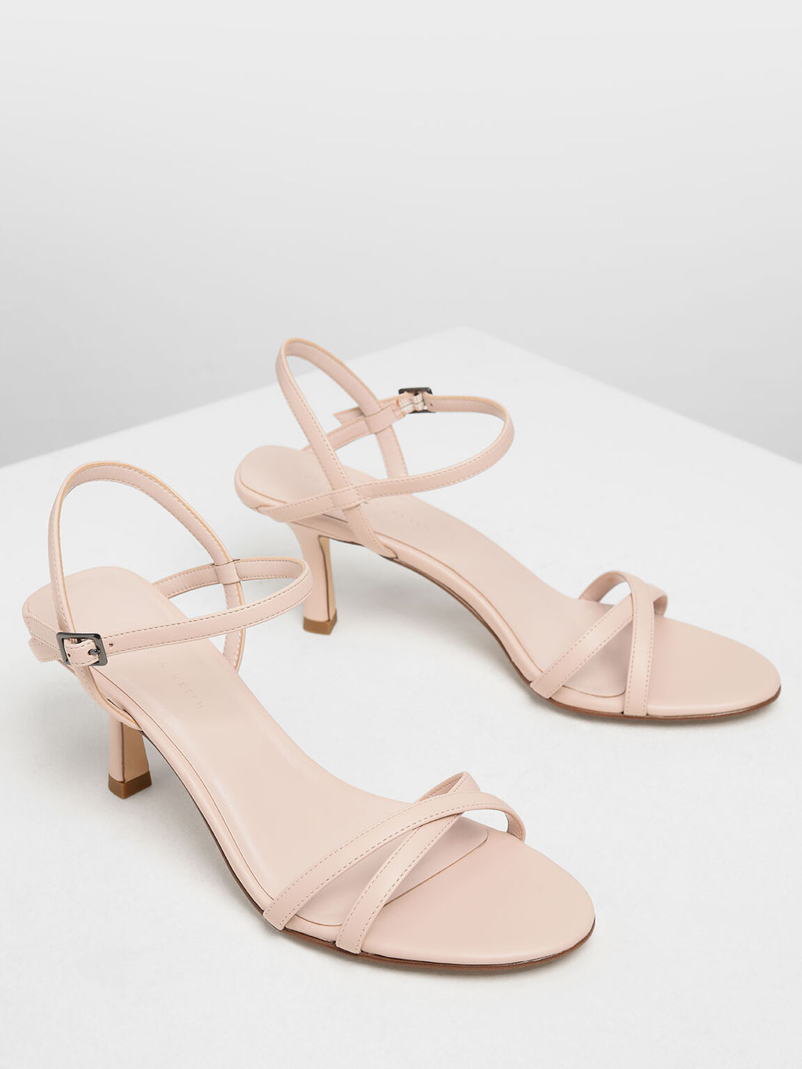 Criss Cross Blade Heel Sandals, Pink, hi-res