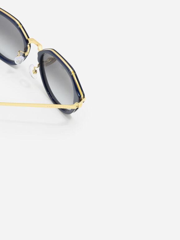 Angular Oval Sunglasses, Navy, hi-res