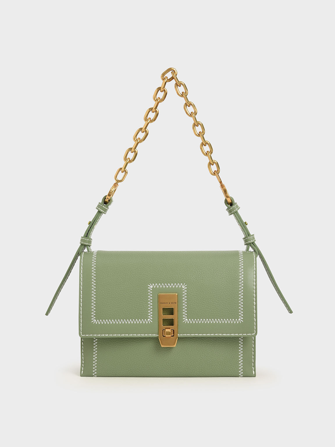 Turn-Lock Chain Handle Bag, Sage Green, hi-res