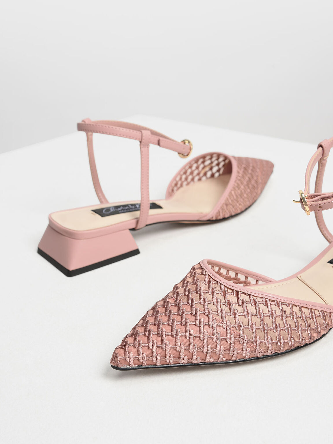 Mesh Mini Block Heel Sandals, Pink, hi-res