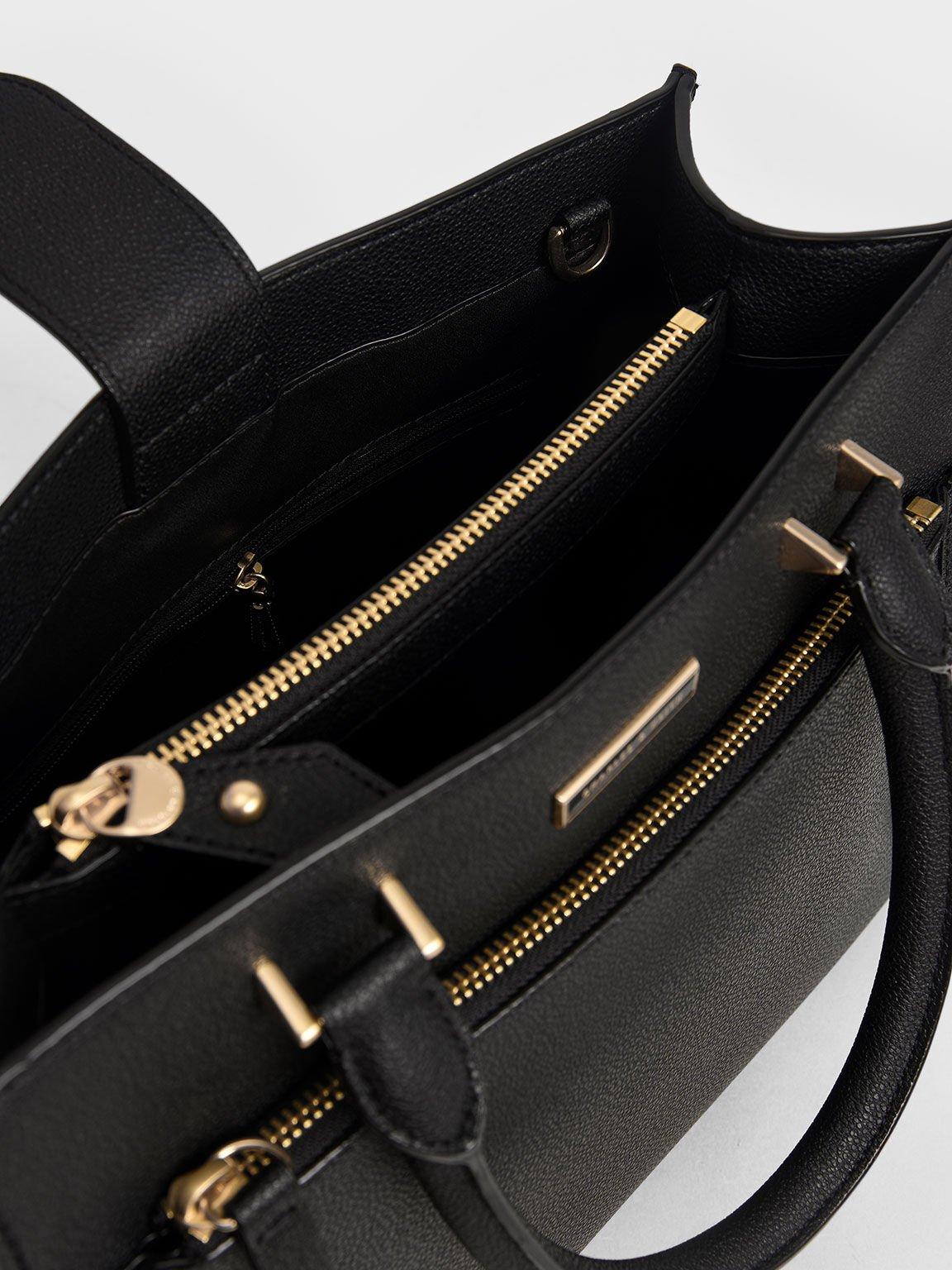Double Handle Front Zip Tote, Black, hi-res