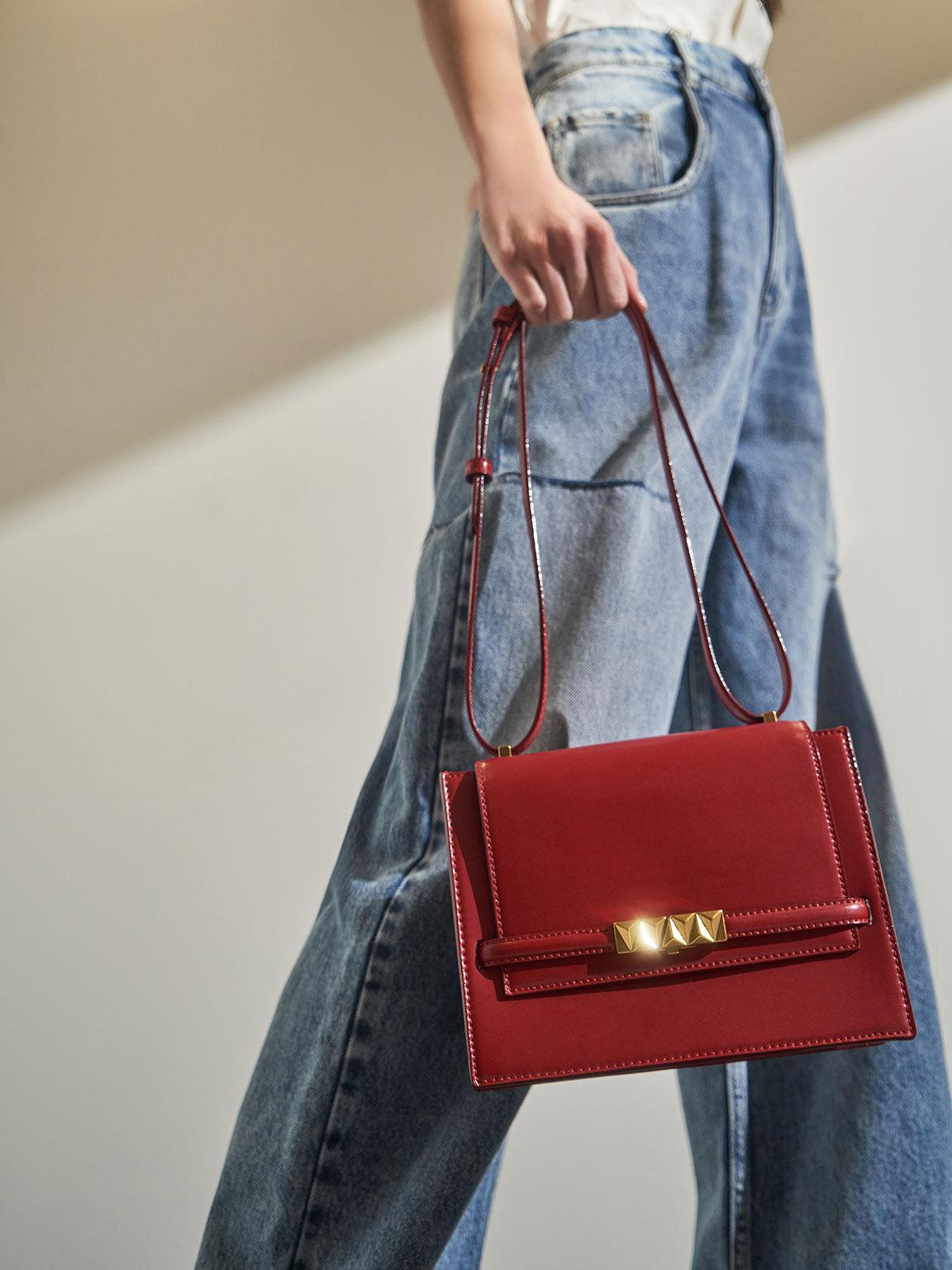 Metallic Push-Lock Crossbody Bag, Red, hi-res